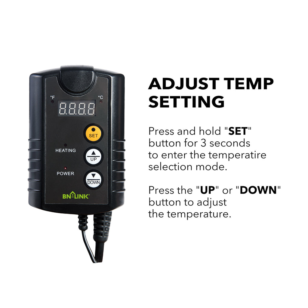 BN-LINK Digital Heat Mat Thermostat Controller for Seed Germination, Reptiles and Brewing, 40-108°F - BN-LINK