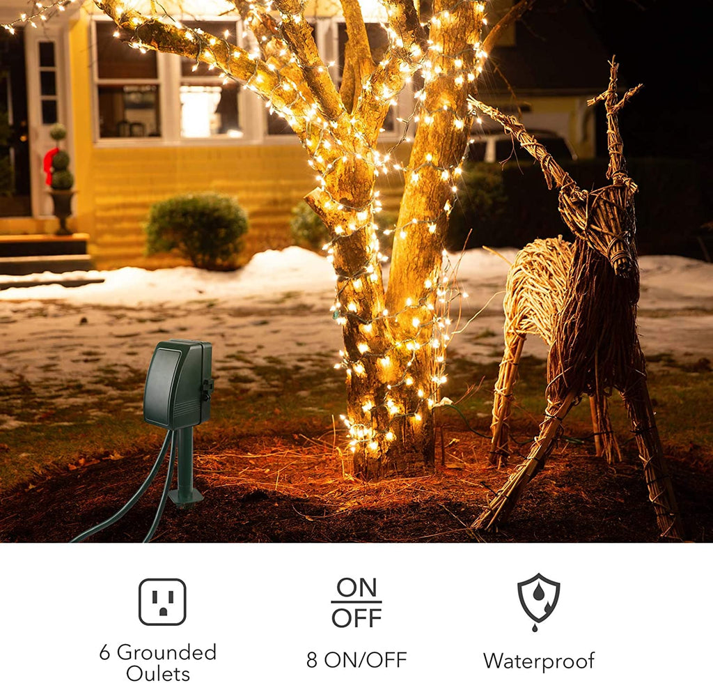 BN-LINK 7 Day Heavy Duty Outdoor Digital Stake Timer, 6 Outlets, Weatherproof, BNC-U3S, Perfect for Outdoor Lights, Sprinklers, Christmas Lights - BN-LINK