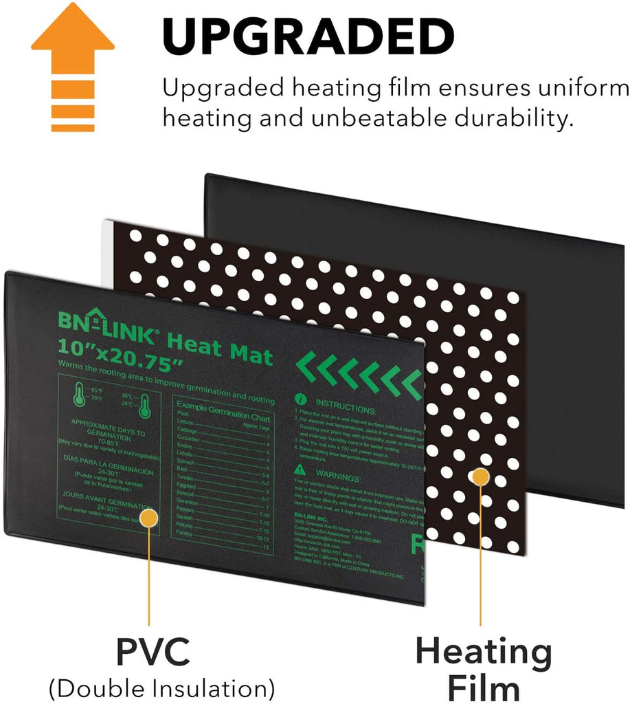 "BN-LINK Durable Seedling Heat Mat Heating Pad 10"" x 20.75"" with Digital Thermostat Combo Set - BN-LINK"