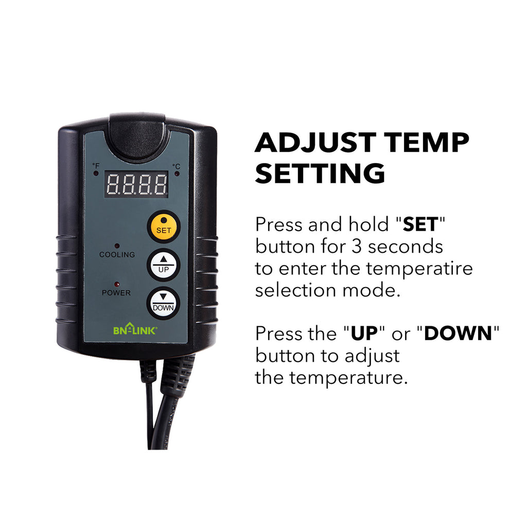 BN-LINK Digital Cooling Thermostat Controller for Cooling Device 40-108°F - BN-LINK