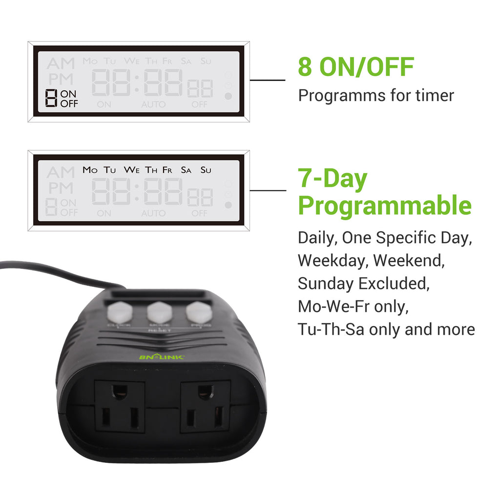 BN-LINK 7 Day Heavy Duty Digital Programmable Timer - Dual Outlet (Outdoor)