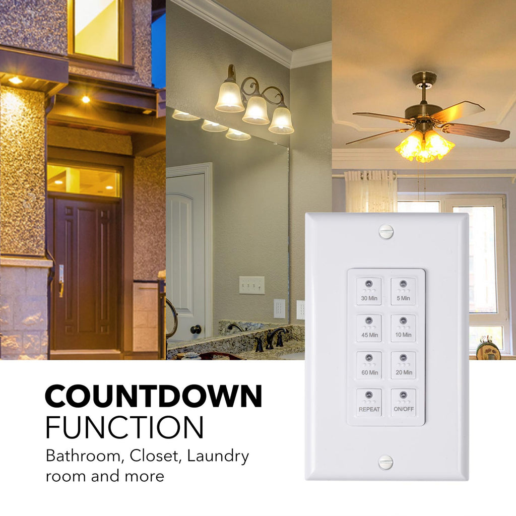 BN-LINK Countdown Digital In-wall Timer Switch 5-10-20-30-45-60mins, Neutral Required, Free Plate, White - BN-LINK