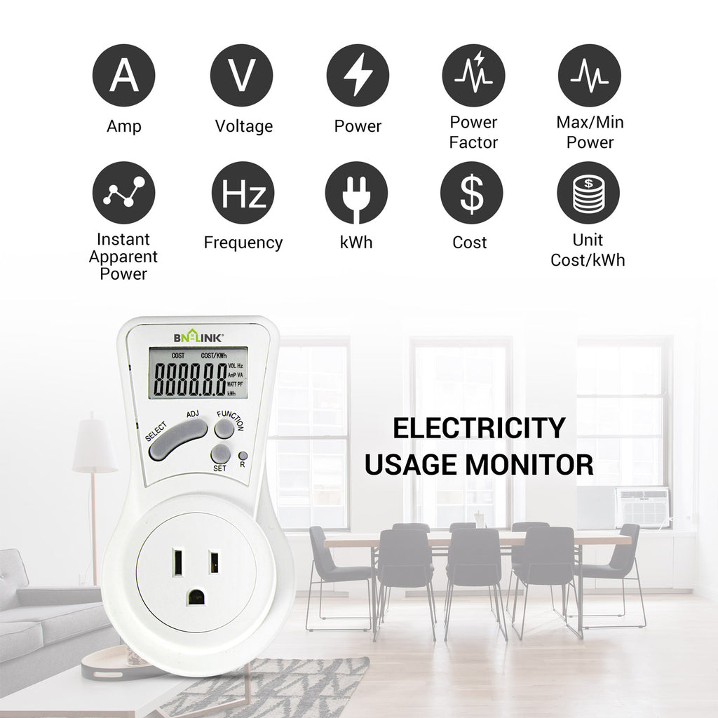 BN-LINK LCD Plug in Power Energy Meter Voltage Amps Electricity Usage Monitor Wall Socket Outlet