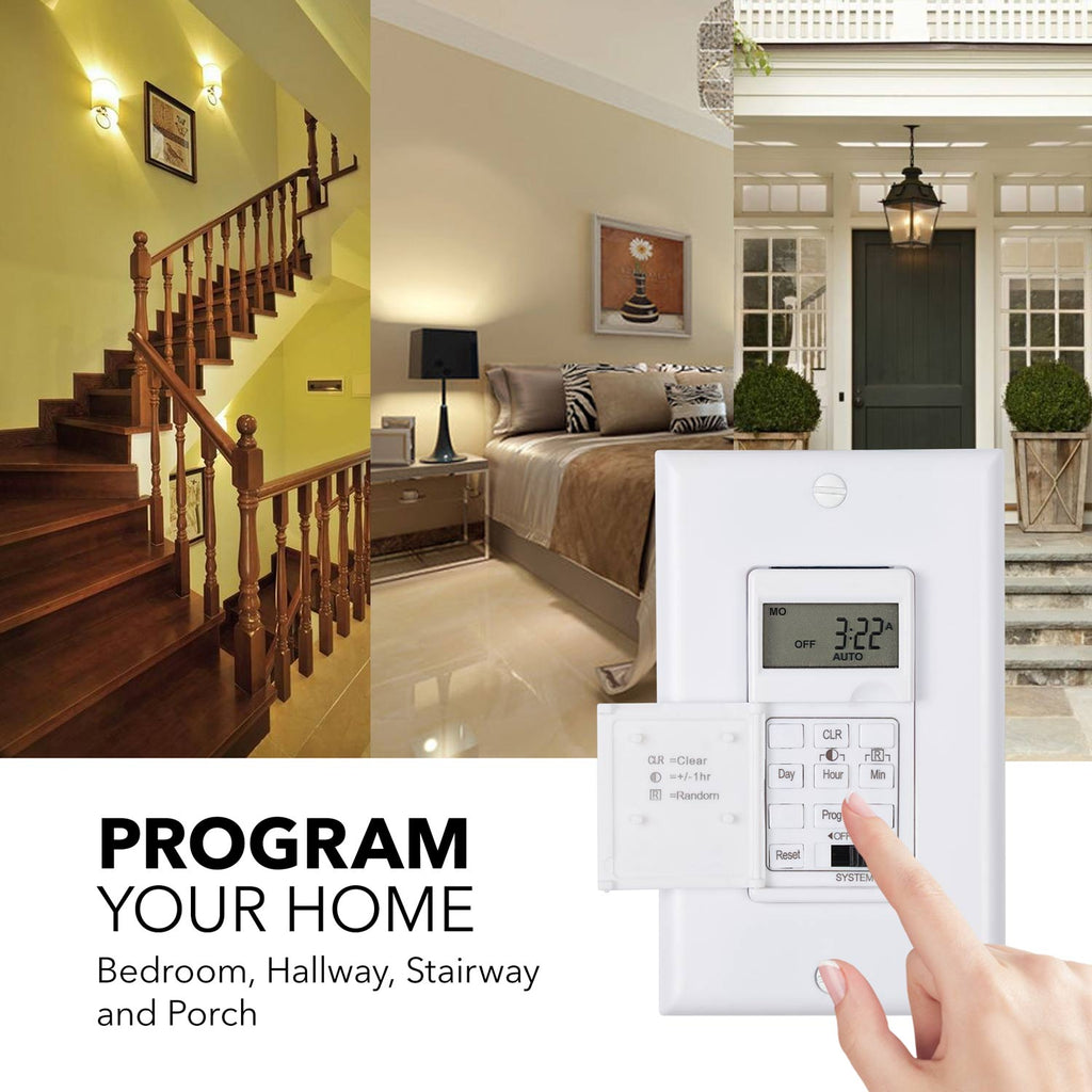 BN-LINK 7 Day Programmable In-Wall Timer Switch for Lights, fans and Motors, Single Pole and 3 Way Both Use, Neutral Wire Required, White