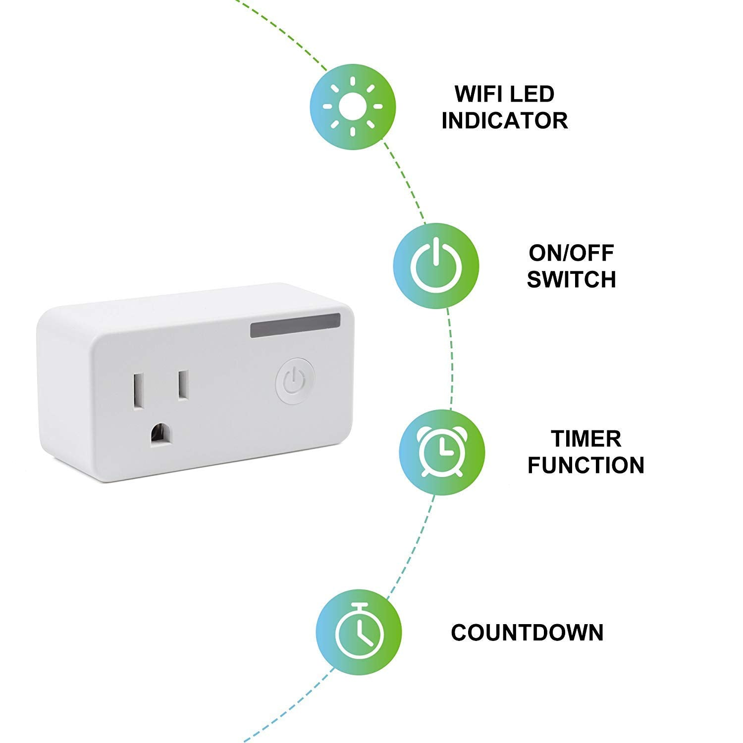 BN-LINK Smart WiFi Outlet Compatible with Alexa and Google
