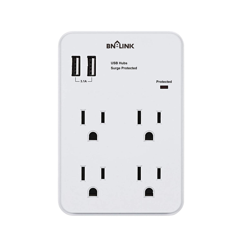 BN-LINK Wall Mount Adapter Surge Protector with 4 Electrical Outlets and 2 USB Charging Ports (3.1A), White - BN-LINK