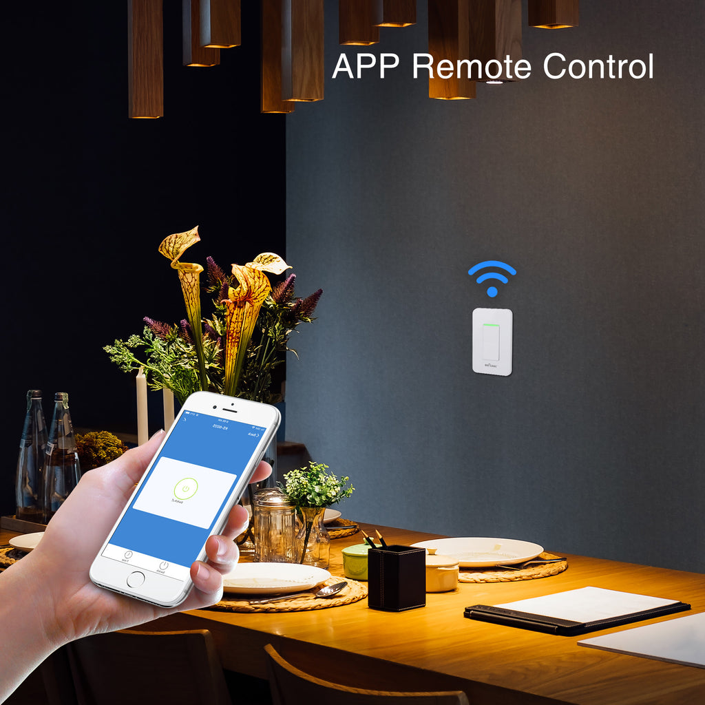BN-LINK Smart In Wall Light Switch with Remote Control and Timer Function,Compatible with Alexa/Google Assistant/IFTTT, No Hub Required - BN-LINK