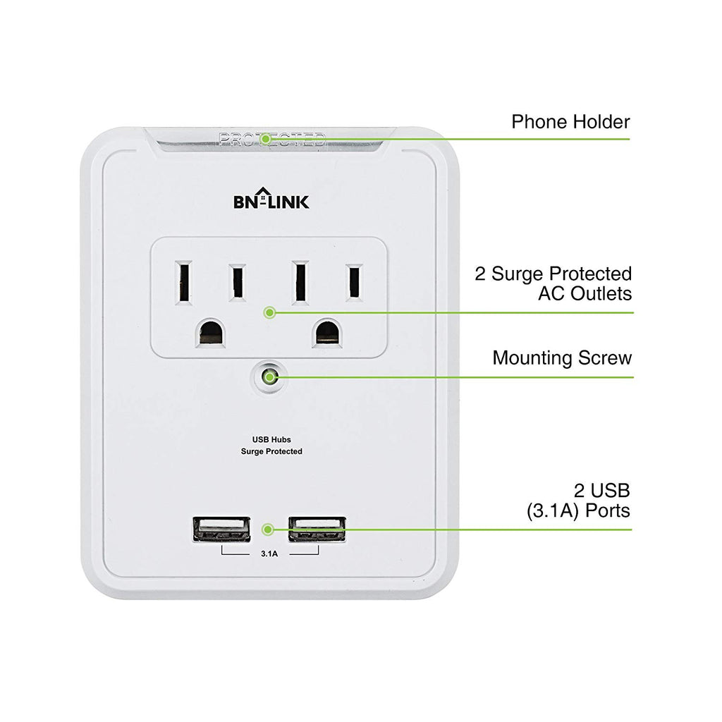 BN-LINK Wall Mount Adapter Surge Protector 2 Electrical Outlets 2 USB Charging Ports (3.1A), Surge-Protected Power Socket Extender Phone Holder, White