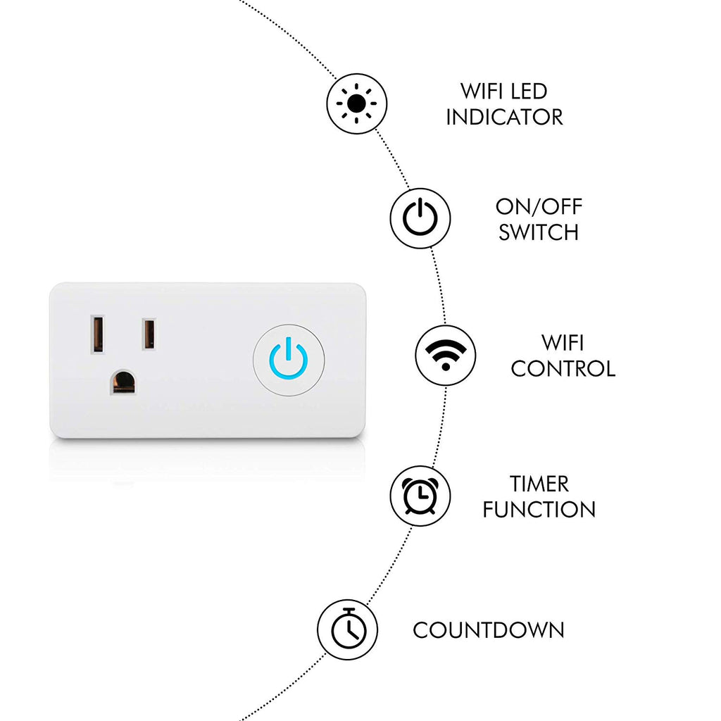 BN-LINK 2 Pack Smart WiFi Outlet, Hubless with Energy Monitoring and Timer Function,Compatible with Alexa and Google Assistant