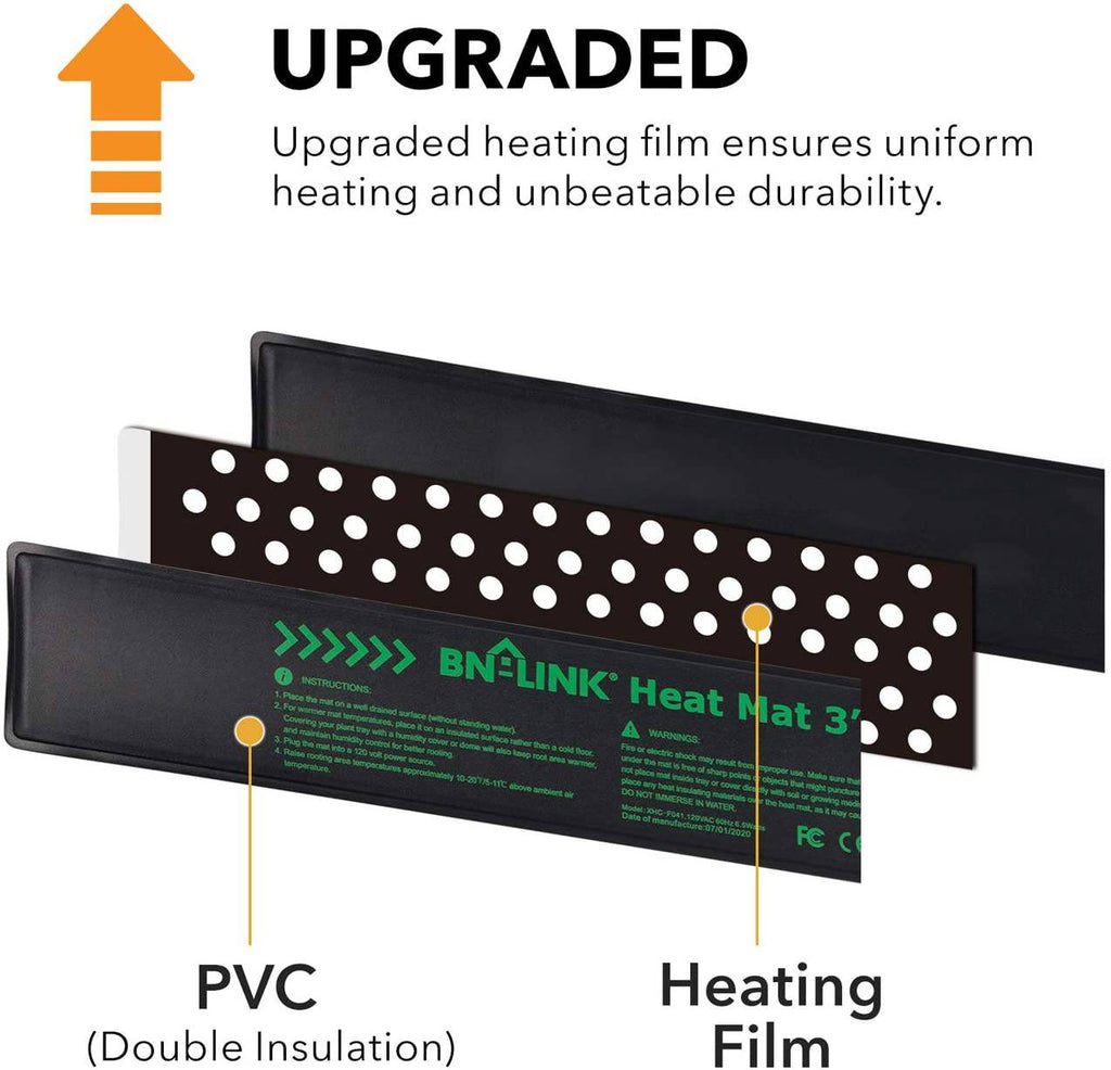 "BN-LINK Seedling Heat Mat 3"" x 20"" (2pac) with Heating Thermostat Outlet Controller - BN-LINK"