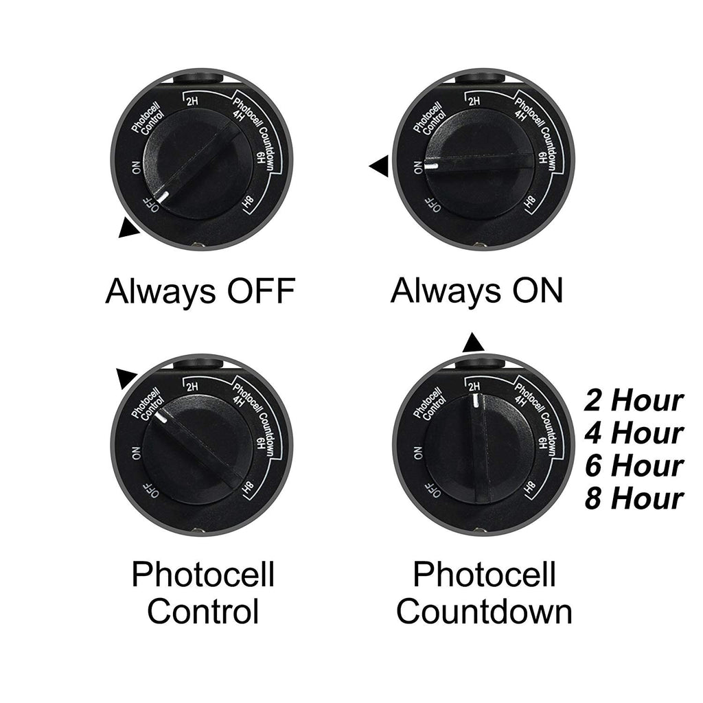 Century Outdoor 24-Hour Water Resistant Timer With Photocell Light Sensor (2, 4, 6 or 8 Hours Countdown Mode)