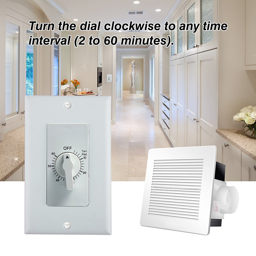 BN-LINK 60-Minute In-Wall Spring Loaded Countdown Timer, Mechanical Switch, 2 Free Plate