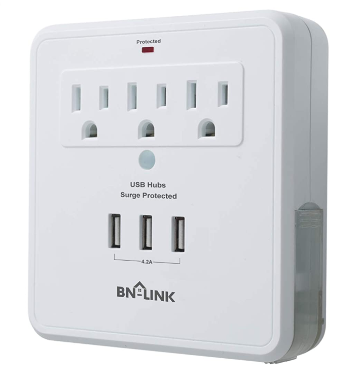 BN-LINK Surge Protector Adapter with 3 USB Charging Port and Outlets