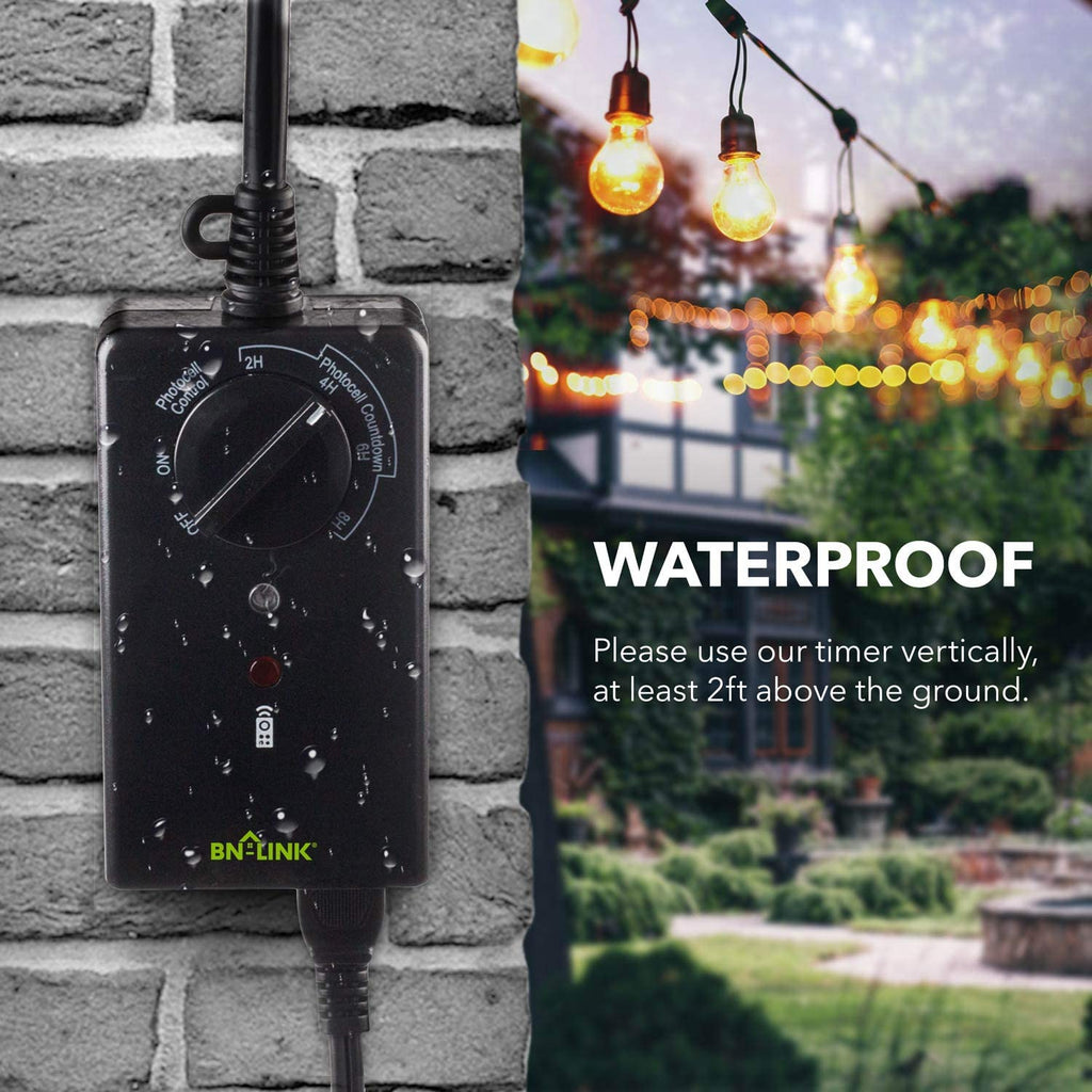 BN-LINK Outdoor 24-Hour Water Resistant Timer With Photocell Light Sensor (2, 4, 6 or 8 Hours Countdown Mode)