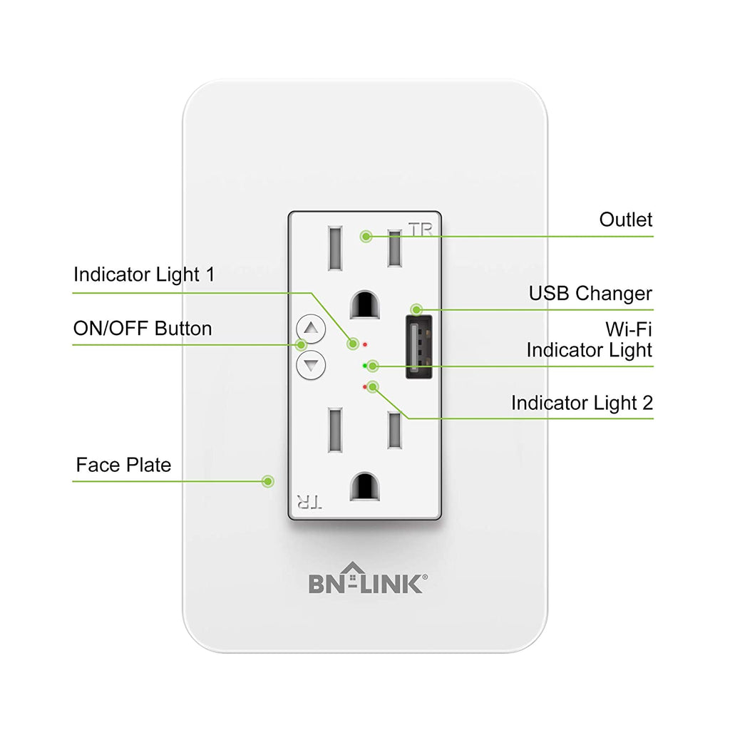 BN-LINK Electrical Outlet in-Wall Smart Wi-Fi Outlet with High Speed 2.1A USB Port - Compatible with Amazon Alexa and Google Assistant - BN-LINK