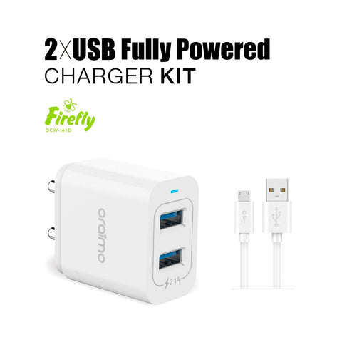 oraimo Firefly Dual USB Fast Wall Charger and Micro-USB Cable with Multi-Protection