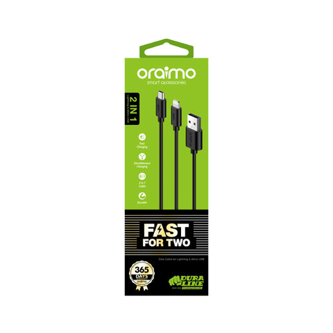 oraimo Drualine 2 in 1 2A Fast Charging Cable OCD-D61