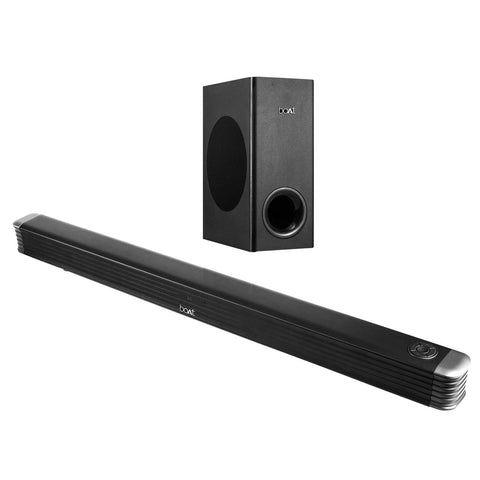 boAt AAVANTE Bar 1800 120W 2.1 Channel Bluetooth Soundbar with boAt Signature Sound, Wireless Subwoofer, Multiple Connectivity Modes, Entertainment Modes, Bluetooth V5.0(Premium Black) - Whatnot India
