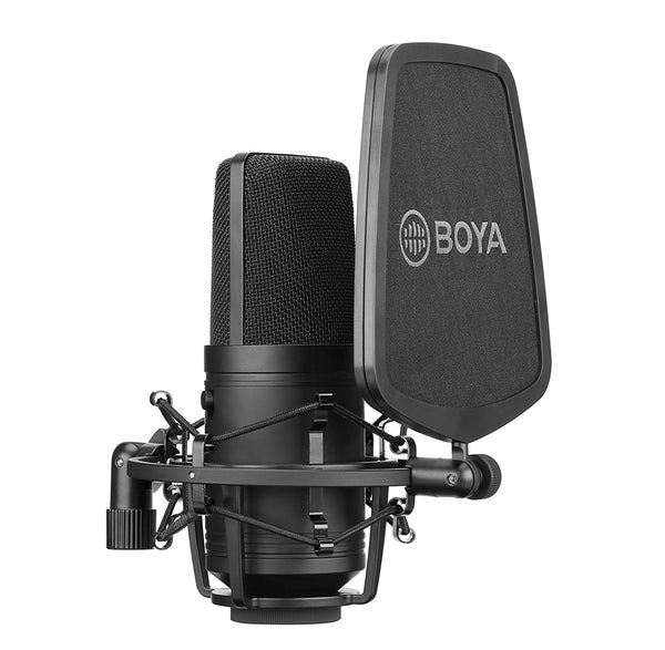 BOYA BY-M800 Large cardioid diaphragm condenser microphone with a smooth,flat,wide-range frequency response for Vocal & general instruments in recording,broadcast and professional studio environments