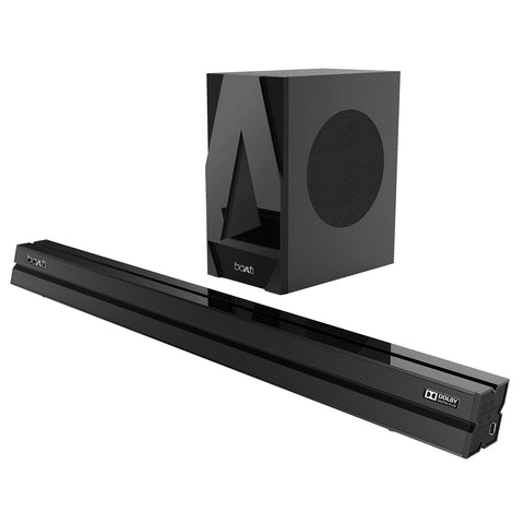 boAt AAVANTE Bar 1700D 120W 2.1 Channel Bluetooth Soundbar with Dolby Digital/Digital Plus, Wired Subwoofer, Multiple Connectivity Modes, Entertainment Modes, Bluetooth V5.0(Premium Black) - Whatnot India