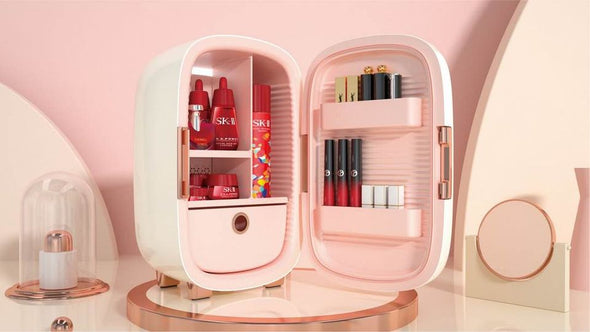 New arrival Mini Beauty Fridge / Skin Care Storage - White/Light Cream