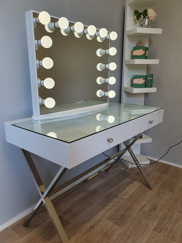 2 Drawers Clear Glass Top Beauty Station with Large Frameless Lighting Mirror - High Glossy White