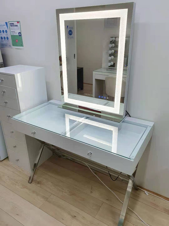 2 Drawers Coco Makeup Table with Clear Glass Top + Tall CRYSTAL Hollywood Makeup Mirror with Bluetooth Speaker