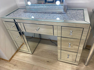 PRE-ORDER! 7 Drawers Mirrored Makeup Dressing Table with Crystal Top - Silver
