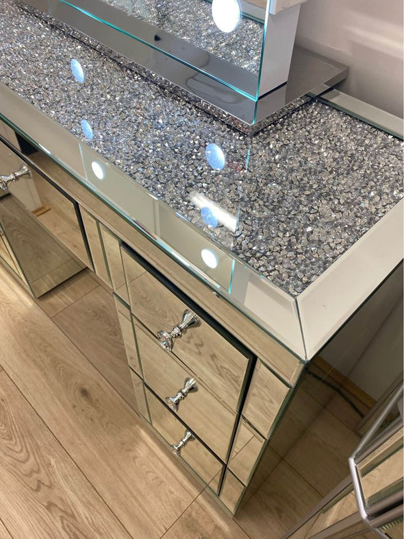 1.2m - 7 Drawers Mirrored Makeup Dressing Table with Crystal Top - Silver