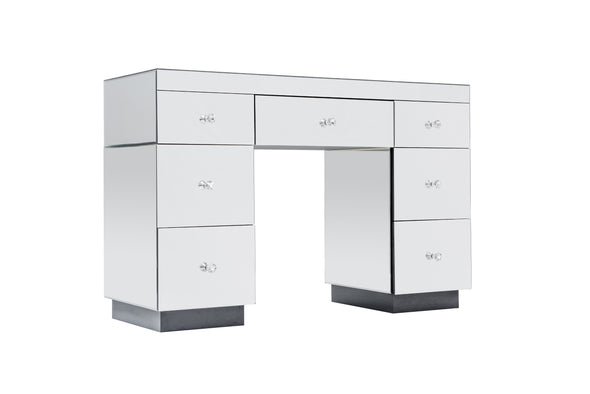 7 Drawers Mirrored Makeup Dressing Table - Silver (Large)