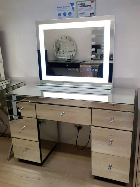 Large Crystal Makeup Mirror with Bluetooth Speaker +7 Drawers Mirrored Makeup Dressing Table - Silver