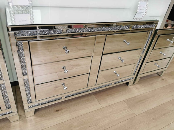 6 Drawers Mirrored Chest with Crushed Diamonds