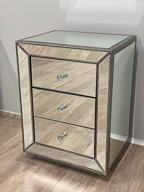 2x 3 Drawers Mirrored Bedside Table with Beads Corner