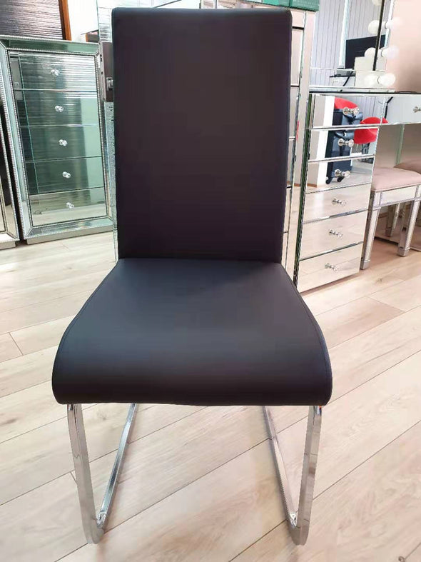 Modern PU Leather Chair with Chrome Legs