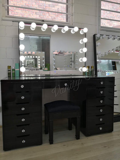 13 Drawers Clear Glass Top Beauty Station + XL Frameless Hollywood Makeup Mirror with Lights