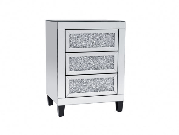 2x 3 Drawers Mirrored Bedside Table with Crushed Diamonds Front