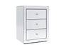 2x 3 Drawers Mirrored Bedside Table with Crystal Top