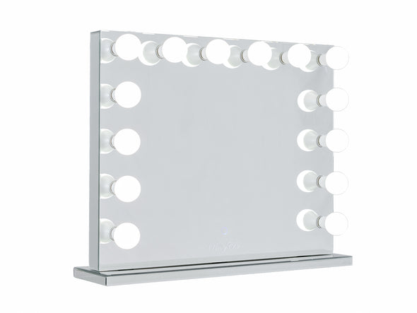 VALENTINA Frameless Hollywood Makeup Mirror with Sensor Touch Dimmer + 7 Drawers Mirrored Makeup Dressing Table - Silver
