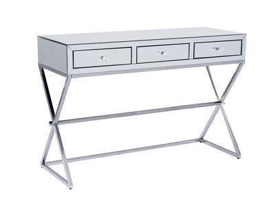 X-Leg 3 Drawers Mirrored Makeup Table - Silver glass
