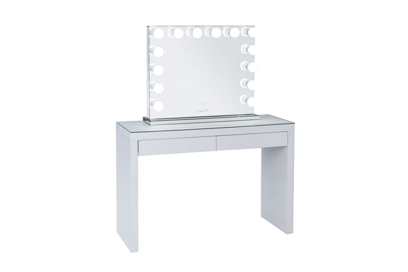 VALENTINA Frameless Hollywood Makeup Mirror with Sensor Touch Dimmer + 2 Drawers Vera Vanity Table