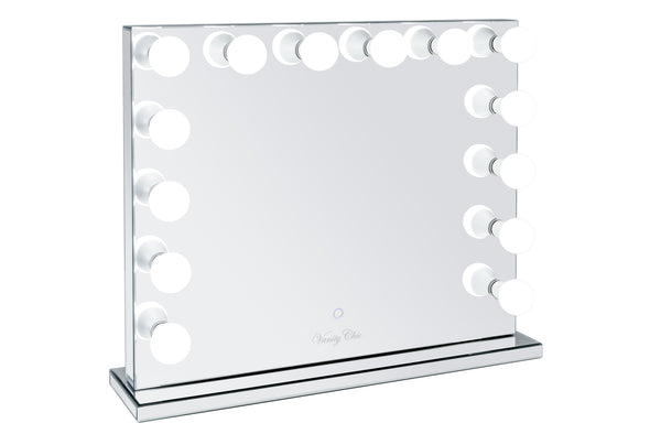 Large VALENTINA Frameless Mirrored Hollywood Makeup Mirror with Sensor Dimmer