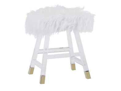 Furry Top Acrylic Makeup Stool / Chair - White