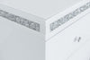 4 Drawers Mirrored Tallboy with Crushed Diamond - WHITE