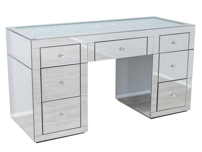 NEW ARRIVAL! 1.5m - 7 Drawers Mirrored Makeup Dressing Table with Crystal Top - SILVER