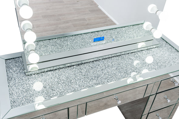 1.5m - Crystal Top Makeup Table (Silver) + XL VALENTINA Hollywood Makeup Mirror with Bluetooth Speaker