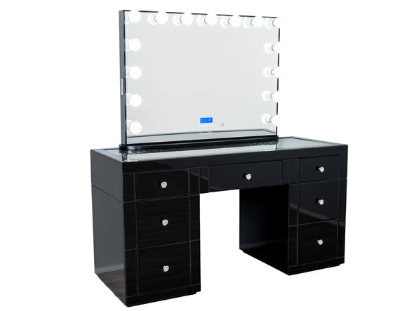 1.5m - Crystal Top Makeup Table (BLACK) + XL YSABEL Hollywood Makeup Mirror with Bluetooth Speaker
