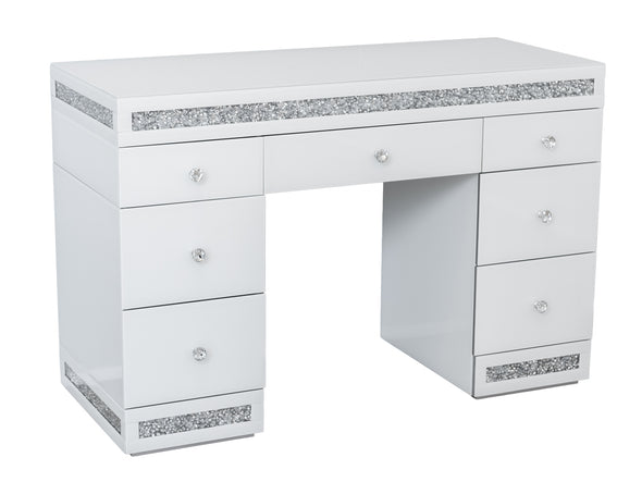 7 Drawers White Mirrored Makeup Dressing Table with Crushed Diamond