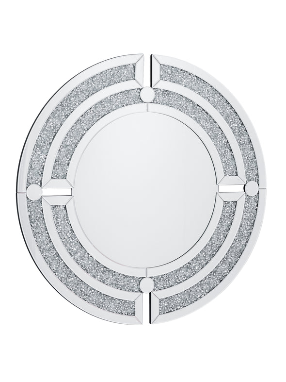 Round Wall Mirror with Crushed Diamonds