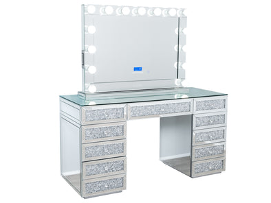 Crushed Diamond Style Beauty Station with Clear Glass Top + XL VENUS Makeup Mirror with Bluetooth Speaker