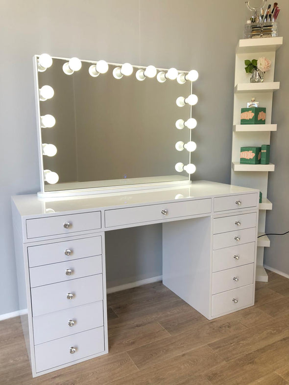 Sunday Rose Beauty Station (Non glass top table) + XL YSABEL Frameless Makeup Mirror